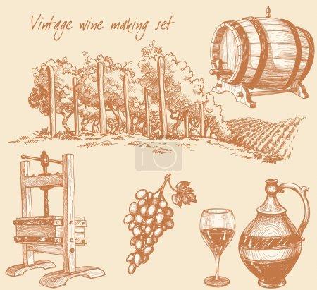 Photo pour Coffret vin vintage et vinification - image libre de droit