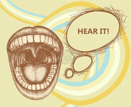Illustration for Opened mouth speaking loud and speech bubble - Royalty Free Image