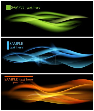 Illustration for Shiny color waves over dark vector backgrounds - Royalty Free Image