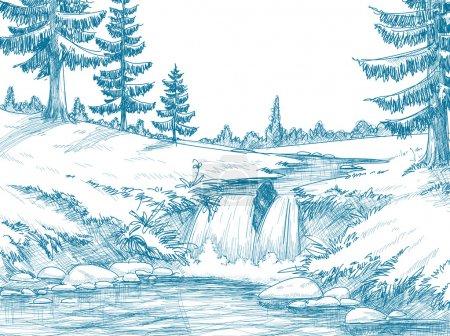 górskie rzeki rysunek ołówkiem