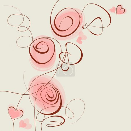 Photo pour Fleurs roses et coeurs - image libre de droit