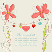 Vector flowers and hearts