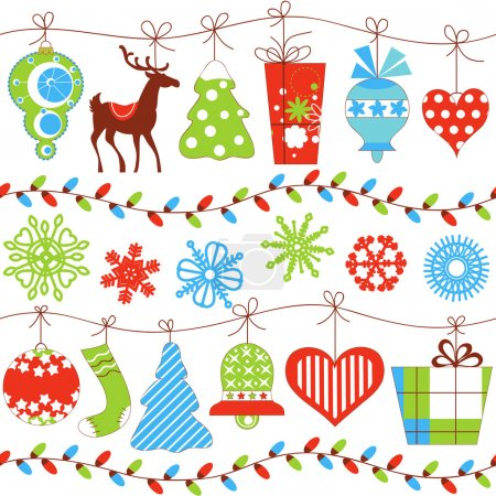 Illustration for Christmas seamless pattern over white - Royalty Free Image