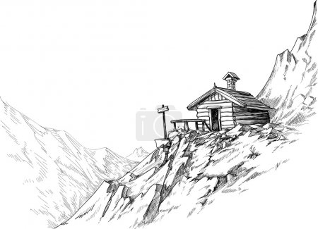 Illustration for Mountain hut sketch - Royalty Free Image