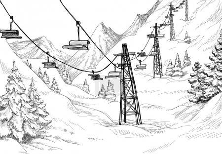 Mountain ski lift sketch