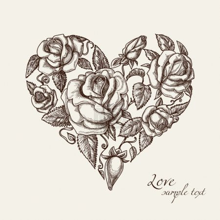 Illustration for Heart of roses vintage style - Royalty Free Image