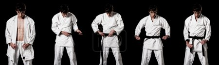 Karate male fighter dressing kimono high contrast composite secuence on bla