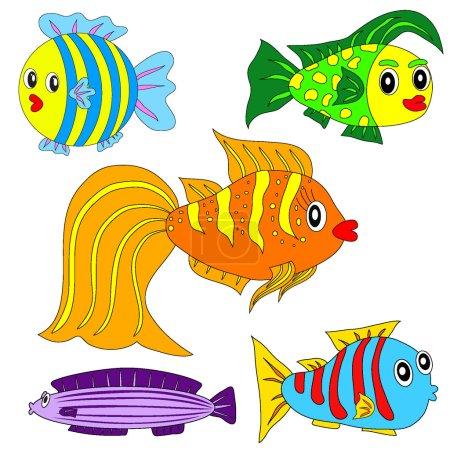 Illustration pour Jeu de poissons vecteurs de bande dessinée EPS8. Illustration - image libre de droit