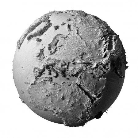 Photo pour Modèle réaliste de la planète Terre isolée sur fond blanc - europe, illustration 3D - image libre de droit