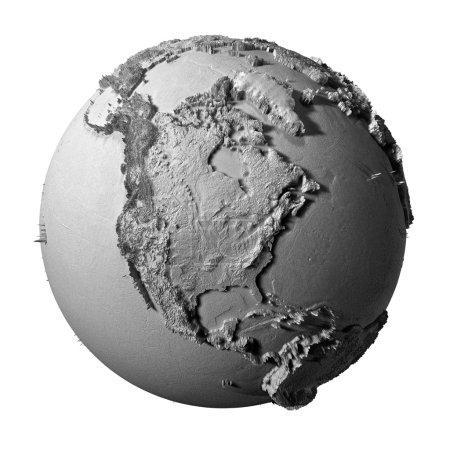 Photo pour Modèle réaliste de la planète Terre isolée sur fond blanc - Amérique du Nord, illustration 3D - image libre de droit