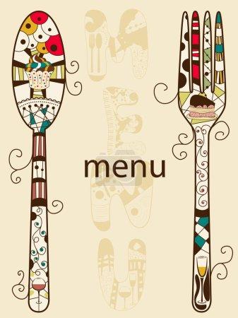 Illustration pour Modèle de menu vectoriel avec cuillère et fourchette - image libre de droit