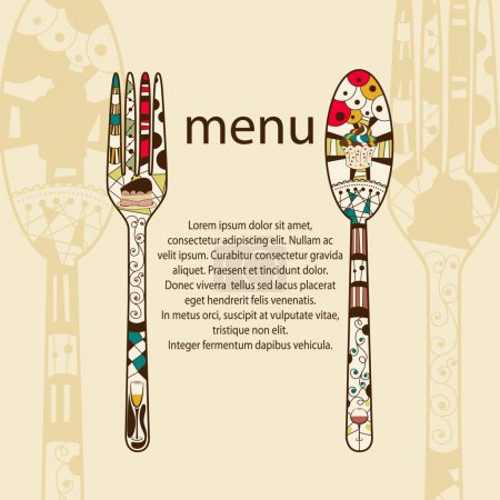 Illustration for Vector menu pattern with spoon and fork - Royalty Free Image