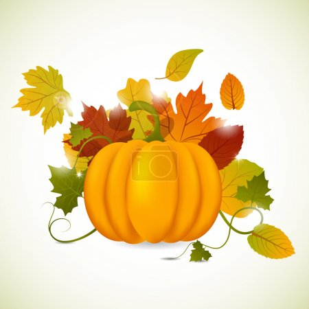 Illustration for Vector pumpkin and leaves - Royalty Free Image