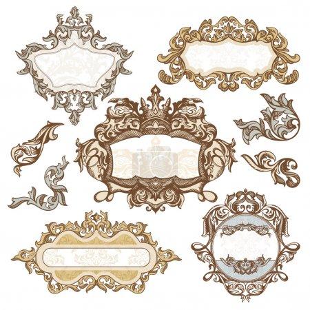 Illustration for Set of royal vintage frames vector illustration - Royalty Free Image