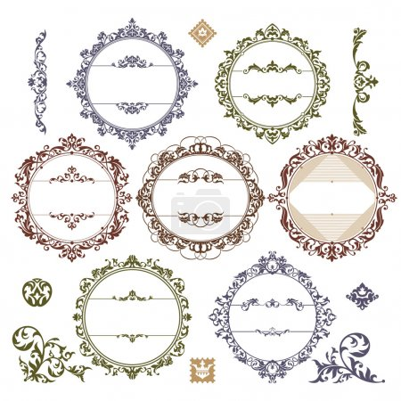 Illustration for Set of royal vintage frames vector illustration - Royalty Free Image
