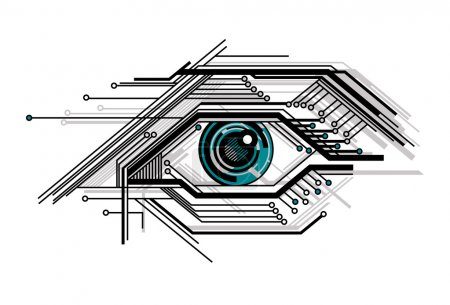 Illustration for Abstract conceptual tech stylized eye vector illustration - Royalty Free Image