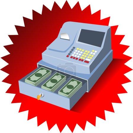 Illustration pour Caisse enregistreuse avec argent - image libre de droit
