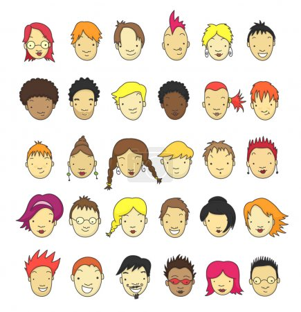 Illustration for Set of 30 different cartoon faces for avatar. - Royalty Free Image