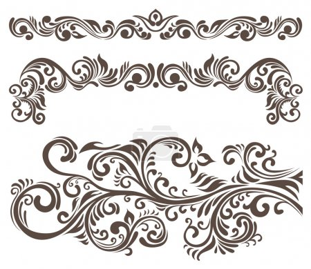 Illustration for Hand-drawn curly floral elements and letterhead. - Royalty Free Image