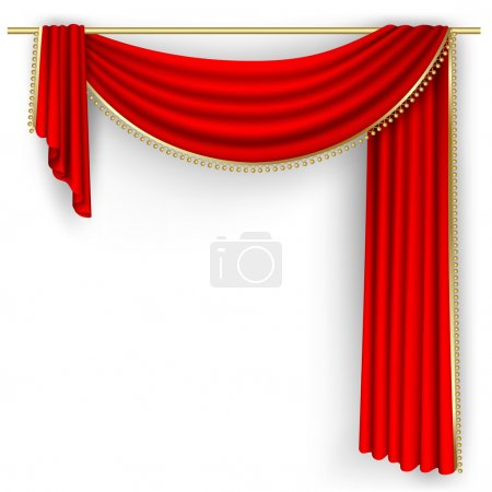 Illustration for Theater stage with red curtain. Clipping Mask. Mesh. - Royalty Free Image