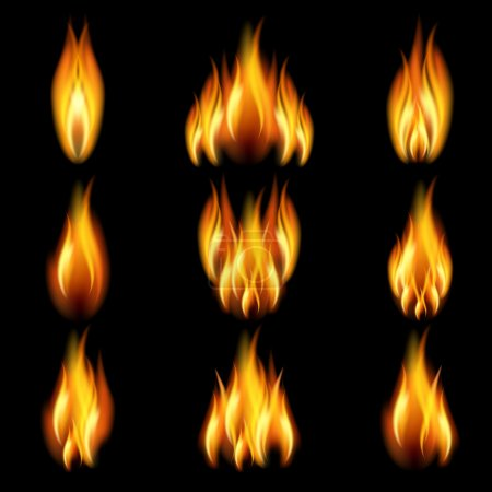 Illustration for Set of frames with flames of different shapes on a black background. EPS10. Mesh. - Royalty Free Image
