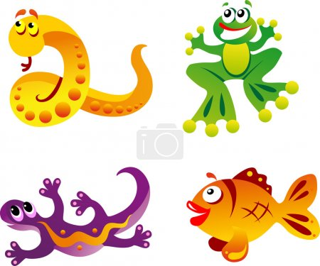 Illustration for Set of fun animals in cartoon style fish, frog, lizard, snake - Royalty Free Image