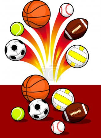 Illustration for Set of Sport Balls with blazing trail - Royalty Free Image