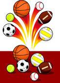 Set of Sport Balls with blazing trail