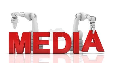 Industrial robotic arms building MEDIA word