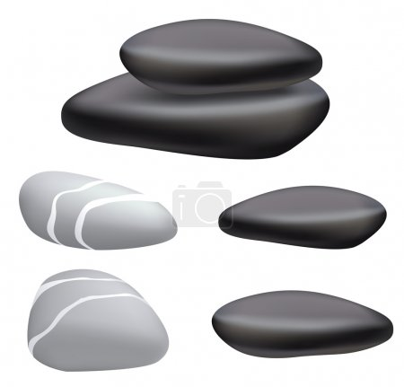 Illustration for Dark and gray pebbles on a white background. Vector illustration. - Royalty Free Image