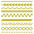 Sewing stitches. Seamless borders. Vector illustra...