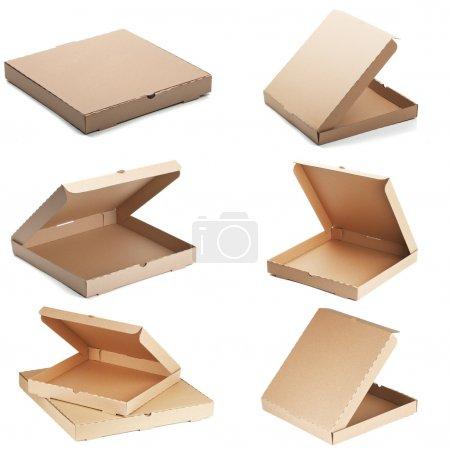 Photo pour Ensemble de boîtes à pizza - image libre de droit