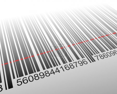 illustration of barcode with laser effect