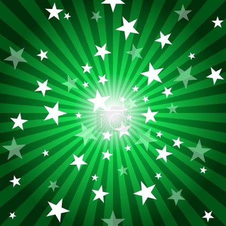 Foto de Sun Rays and Stars - Green Abstract Background Illustration - Imagen libre de derechos