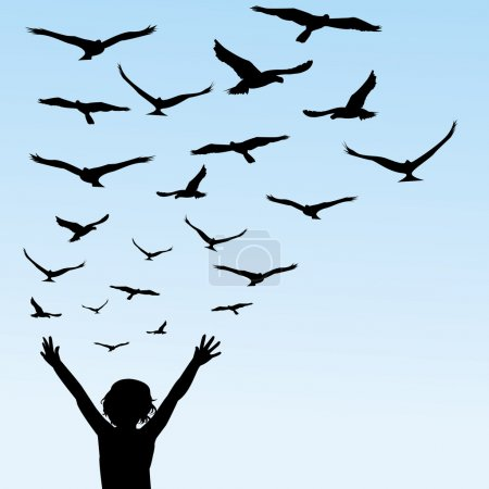 Photo for Child learning to fly, illustration with child and birds - Royalty Free Image