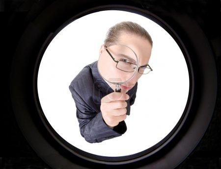Photo pour Homme d'affaires, gesticulant avec émotions sur fond blanc - image libre de droit