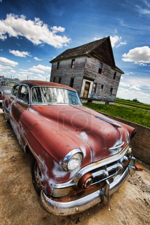 Photo for Old vintage cars left rusting in a ghost town - Royalty Free Image