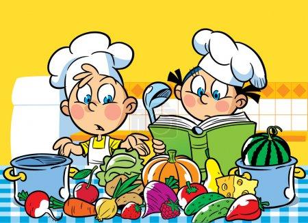 Illustration pour L'illustration montre un garçon et une fille. Ils cuisinent dans la cuisine . - image libre de droit