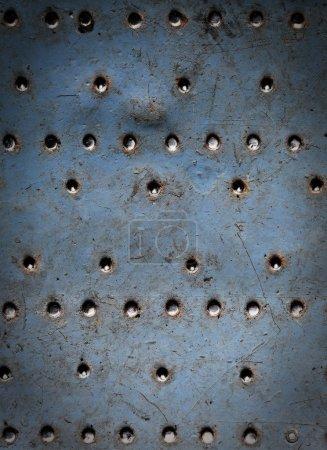 Metal texture, riveted metal plate