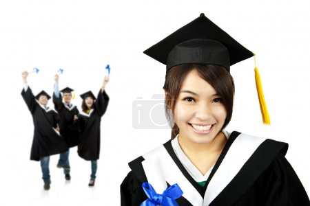 Photo for Young smiling graduate asian girl and happy students group - Royalty Free Image
