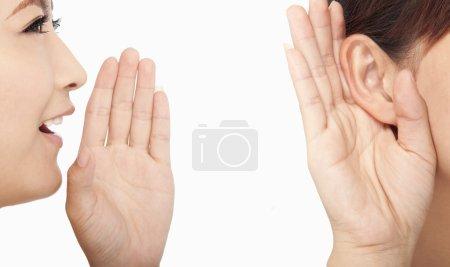 Photo pour Les femmes parlent et écoutent les commérages - image libre de droit