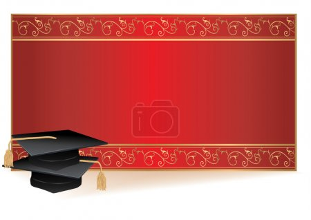 Illustration for Graduation invitation card with gold border with mortars - Royalty Free Image