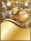 Zlatá zimní přání s vánočními koulemi