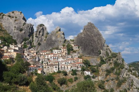 Panoramic view of Castelmezzano. Basilicata. Italy.