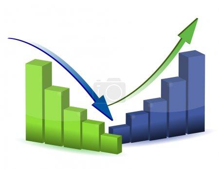 Photo pour Graphique d'affaires, graphique, diagramme, barre, haut, bas - image libre de droit