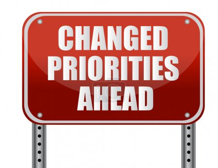 Realistic metallic reflective 'changed priorities ahead' sign