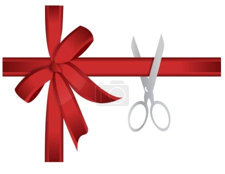 Scissors cutting red ribbon illustration concept
