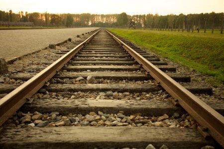 Photo pour Arrivée de la voie ferrée dans le camp de concentration d'Auschwitz Birkenau - image libre de droit