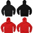 Photograph of two blank hoodie sweatshirts, red an...