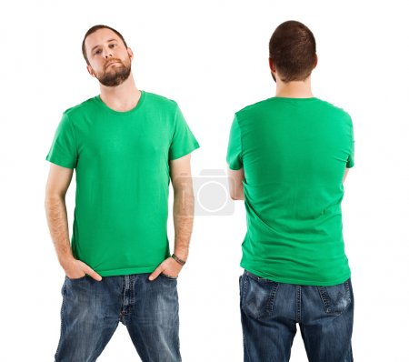 Photo for Young male with blank green t-shirt, front and back. Ready for your design or artwork. - Royalty Free Image